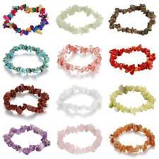 GEMSTONE Chip Beaded Stretch Gift Charm Reiki Healing Crystal BRACELETS - Vy