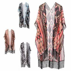 New Women Vintage Aztec Tassels Kimono Open Cardigan Blouse Tops