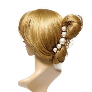 Sleek pearl ball decorated hair claw updo hair clamp women clip hair accessory