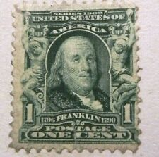 RARE 1903 1 CENT GREEN STAMP, BEN FRANKLIN on page, COUNT OF MONTE CRISTO