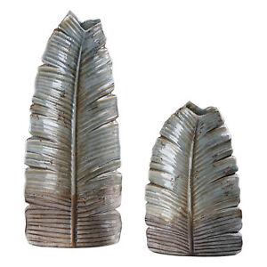 Blue Feather Figural Sculpture Vase Set | Tall Leaf Ceramic Gray Aqua Bronze