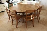 10 seater Large Round Dining Table, 8 chairs, Chunky 'Oak Stain' Top, drop leaf