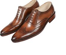 Men Real Leather Shoes Handmade Brogues Derby With Real Leather Sole UK Size5-11