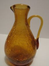 Vintage Blenko Crackle Art Glass Miniature Gold Pitcher Mid Century Modern