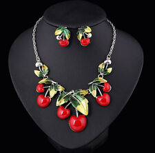 Fashion Party Cute Temptation Apple Shape Enamel Leaf Fruit Necklace Earring Set