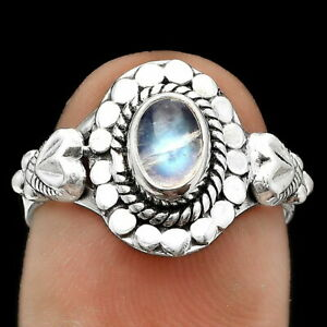 Natural Rainbow Moonstone - India 925 Sterling Silver Ring s.7.5 Jewelry E087