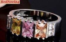 Deep Indented 5 Stone Multi Earth Coloured Topaz Ring S925 Stamp Size 9 - R