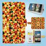 HTC One M7 M8 M9 Print Flip Wallet Case Cover Colourful Pattern W041