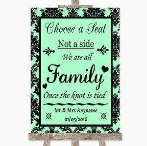 Wedding Sign Poster Print Mint Green Damask Choose A Seat We Are All Family