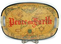 Vintage Peace On Earth Plastic Serving Tray Globe Map Made In Japan 18""