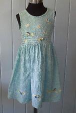 size 3 LADYBIRD COTTON PLISSSE SUN DRESS faux smocking embroidery applique vgc