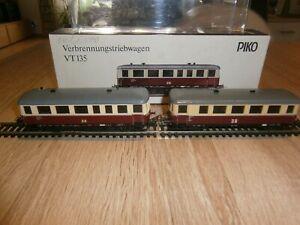 Dieseltriebwagen VT 135 062 der DR in H0 von Piko mit Licht & OVP + Beiwagen 140
