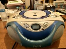 jWin Sports Portable Stereo Radio/Cd Boombox Blue Dual Speakers
