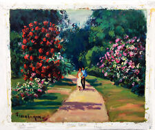 """voluminous garden""  Oil on Canvas 18""x 21"" signed: Georges Ferro LaGree (1941)"