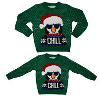 Kids Boys Xmas Knitwear Penguin 'Chill' Cute Christmas Jumper Retro Sweater UK