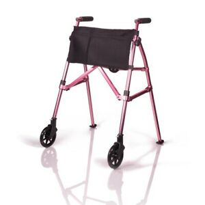 EZ Fold-N-Go Walker, Lightweight Folding 2 Wheel Rolling Walker - Regal Rose