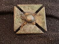 Stunning Saxon bronze cross mount still with fibres intact around centre L18j