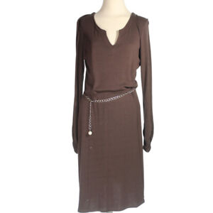 S Oliver Womens Selection Long Sleeve Stretchable Long Brown A Line Dress Size 8