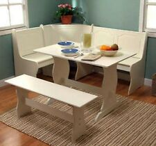 Superbe Corner Nook Dining Set Breakfast Bench Kitchen Booth Dinette Table White  Storage
