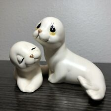 "White Mom & Baby Seal Pup 4"" Figurine Set Oxford Vintage Mexico"