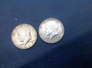 1964 Kennedy Silver Half Dollar ~ USA  And one other.