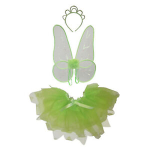 Child Fairy Wings Wand Set Girls Kid Green White Turquoise Fancy Dress Costume
