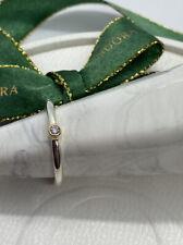 Pandora Morning Star Silver ring 14k 0.03ct TW h/vs diamond Genuine 190213D Sz52
