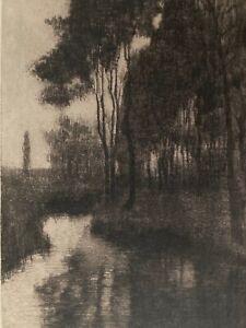 Max Pietschmann: Flusslandschaft -Signierte Orig. Radierung von 1898 Symbolismus
