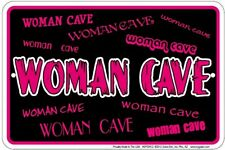 WOMAN CAVE METAL EMBOSSED HOT PINK & BLACK SIGN NOVELTY GIRL CRAFT ROOM BEDROOM