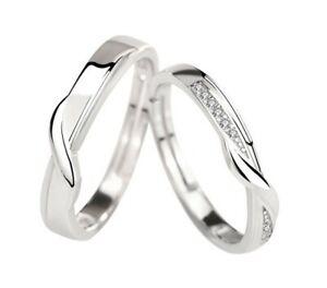 2 Trauringe 925 Silber Eheringe Verlobungsringe Partnerringe verstellbar R6