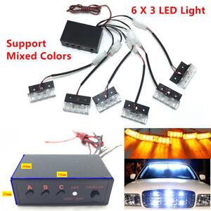 Car SUV 18 LED Strobe Emergency Flashing Warning Grill Light Lamp 12V Amber Kit