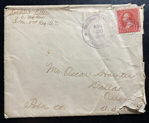 1898 Manila Philippines Soldiers Mail Spanish American War Cover To Usa