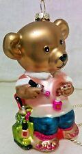 Robert Stanley Blown Glass Christmas Ornament Bear Manicurist Work & Play 2011