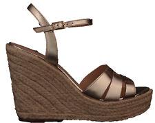Zapatos De Cuero Nueva camiseta para mujer cuña de oro firma siguiente Talla 8 RRP £ 65