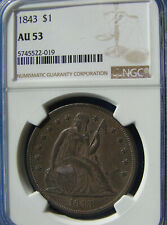 "*VERY STUNNING 1843 SEATED LIBERTY DOLLAR ""SUPER COLOR"" AU-53 NGC*"