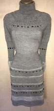 Exquisite Karen Millen Dress Size 2 UK Size 10-12 Grey Roll Neck Merino Wool