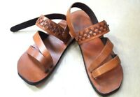 Open Toe Ankle Strap Flats Handmade Brown Leather Hippie Roman Sandal Men's US