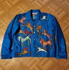 VTG Silk Horse Patchwork Jacket Cardigan Artsy Turquoise Equestrian Southwest M