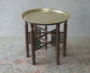 Middle Eastern Antique Table with Brass Tray - Hand Carved Folding Base