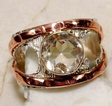 1CT Three Tone-Citrine 925 Solid Genuine Sterling Silver Ring Jewelry Sz 7