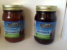 ROBERT'S (No Suger Added) Seedless Red Raspberry And Blackberry Jam. 2 19oz Jars
