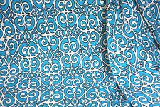Hacci Knit Fabric Stylized Scroll Beige Apparel Aqua  By the yard  Bfab