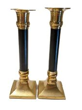 2 Gatco Solid Brass Candlesticks Pair Black Inset Detail