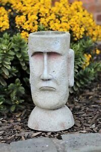 Garden Ornament Dried Flowers Easter Island Plant Pot Planter Outdoor Indoor