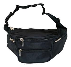 Lorenz Black Unisex 6 Zip Microfibre Bumbag Waist Bag Money Belt Organiser