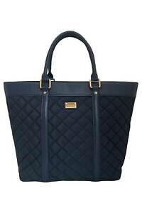 St John Navy Blue Quilted Nylon + Leather Tote Shoulder Bag Purse Handbag NEW