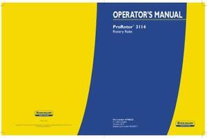 NEW HOLLAND PROROTOR 3114 ROTARY RAKE OPERATOR`S MANUAL