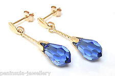 9ct Gold Blue Swarovski Crystal Elements Drop Earrings Gift Boxed, Made in UK