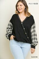 umgee long puff sleeve surplice knit and plaid top shirt s m l xl 1x 2x