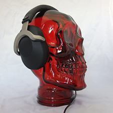 Amp3 Luxury Glass Skull Headphones Stand Colour Red